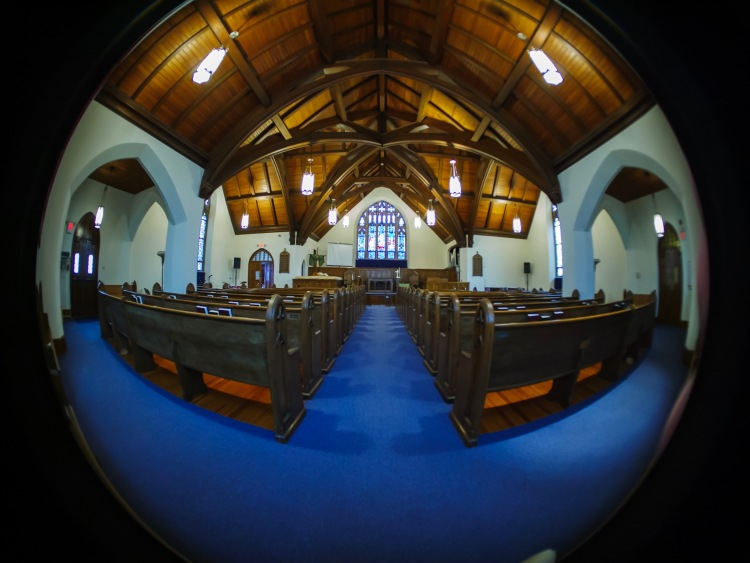Ultra wide-angle of Central Baptist's Sanctuary.