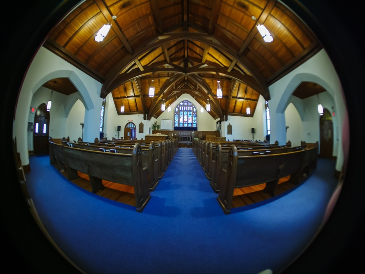 Central Baptist Sanctuary with fisheye distortion.