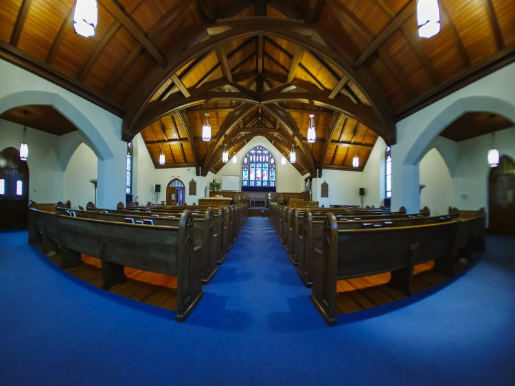 Wide-angle of the Central Baptist Sanctuary.