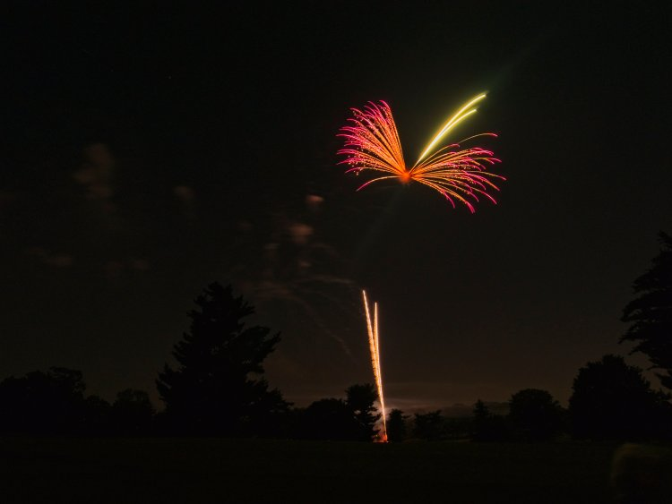 A firework explodes in the air