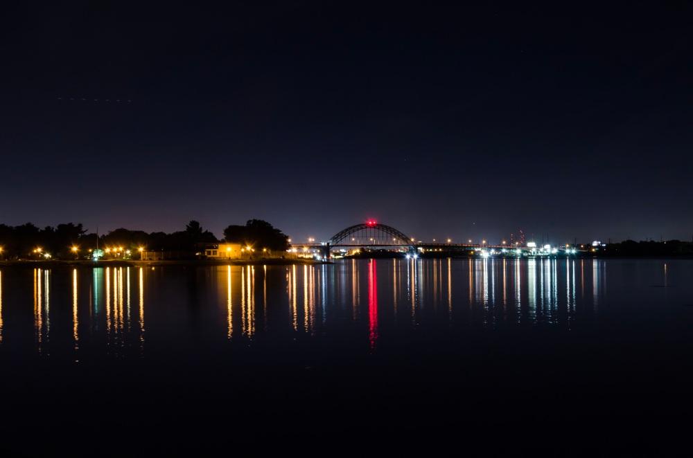 Nighttime photo of the Tacony-Palmyra Bridge