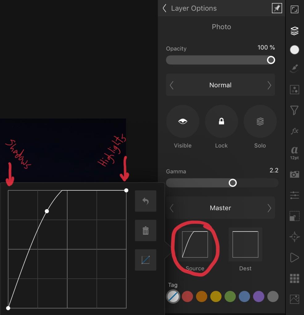 Blend Range dialog in iPad Affinity Photo