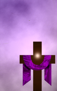 Cross draped in a purple cloth for Lent.